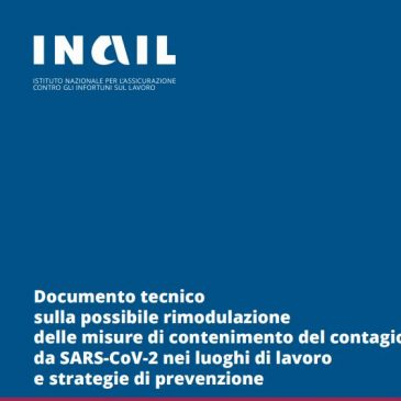 INAIL: DOCUMENTO SU CLASSI DI RISCHIO CORONAVIRUS