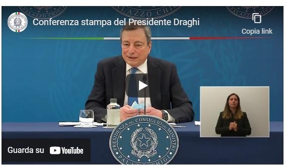 CONFERENZA STAMPA DEL PRESIDENTE DRAGHI: dal 26 aprile riparte la fascia gialla