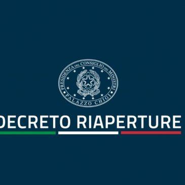 DECRETO RIAPERTURE: il comunicato stampa e le schede sintetiche riassuntive